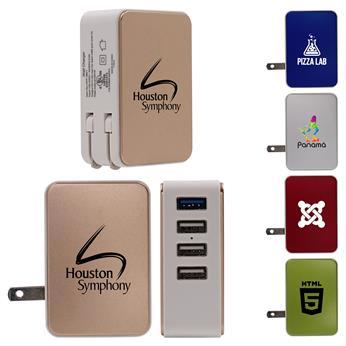 CPP-3901-M - UL Metallic 4 Port USB Folding Wall Charger