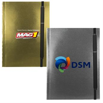"""CPP-4227 - 4"""" x 6"""" Perfect Metallic Cover Notebook with elastic pen"""