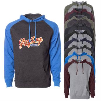 IND40RP FULL COLOR IMPRINT AVAILABLE!!! - INDEPENDENT TRADING CO. RAGLAN HOODED PULLOVER SWEATSHIRT