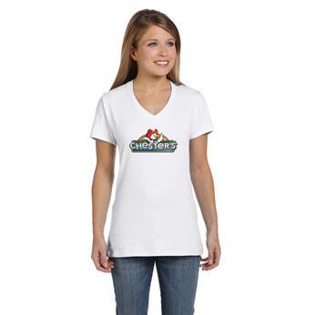 S04V FULL COLOR IMPRINT AVAILABLE!!! - Hanes Ladies' 4.5 oz., 100% Ringspun Cotton nano-T® V-Neck T-Shirt