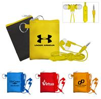 CPP-3781 - Tall Stretchy Pouch with Colorful Mic & Ear Buds