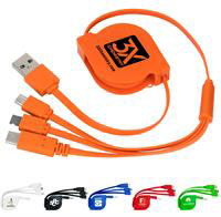CPP-3895 - 3-in-1 Retractable Noodle Cable with Type C USB