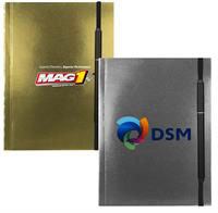 "CPP-4302 - 5"" x 7"" Perfect Metallic Cover Notebook with Elastic Pen"
