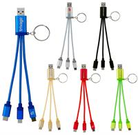 CPP-4486 - Metallic 3-in 1 Keychain Cable with Type C USB