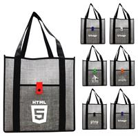 Gray Denim Grocery Tote