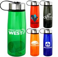 CPP-5355 - Metal Lanyard Lid 25oz Colorful Contour Bottle with Floating Infuser