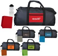 Textured Linen Pocket Duffle Sport Bag