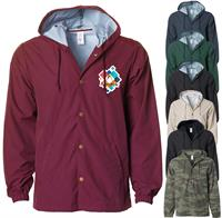 EXP95NB FULL COLOR HEAT TRANSFER!!! - INDEPENDENT TRADING CO. WATER RESISTANT HOODED WINDBREAKER JACKET