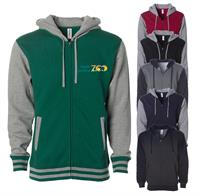 IND45UVZ FULL COLOR IMPRINT AVAILABLE!!! - INDEPENDENT TRADING CO. UNISEX VARSITY ZIP HOOD